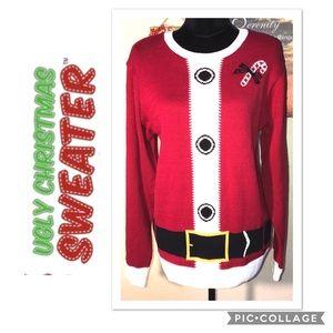 UGLY CHRISTMAS SWEATER WOMENS SANTAS SWEATER Sz Lg